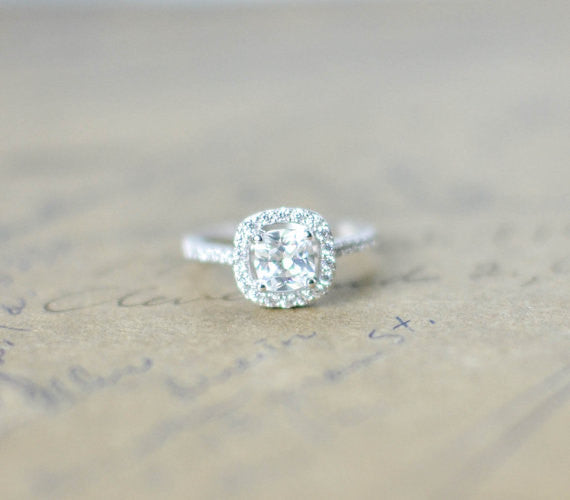 Cubic Zirconia Halo Ring - Cushion Cut Ring - Sterling Silver Engagement Ring - Micro Pave Ring - Promise Ring