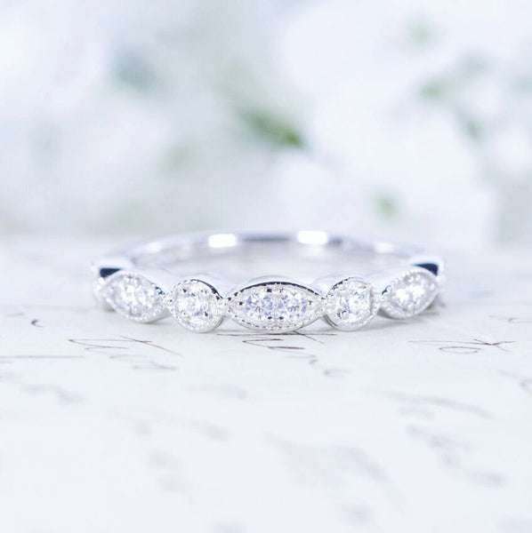 Art Deco Wedding Band - Half Eternity Band - Vintage Style Band - Sterling Silver Band - Marquise & Dot Ring - Stacking Ring - Milgrain Band