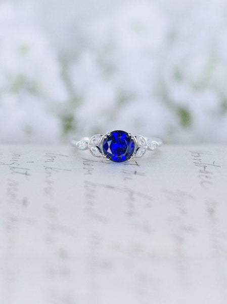 Blue Sapphire Engagement Ring - Art Deco Ring - Vintage Style Ring -  Flower Ring - Solitaire Ring - Round Cut Ring - Sterling Silver