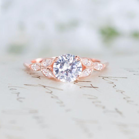Rose Gold Engagement Ring - Art Deco Ring - Vintage Wedding Ring - Antique Ring - Cubic Zirconia Ring - CZ Solitaire Ring - Round Cut Ring