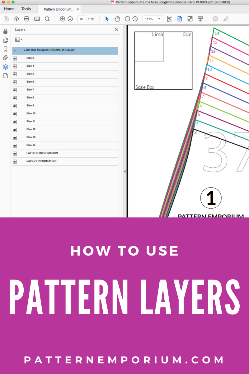 How to use pattern layers in pdf sewing patterns