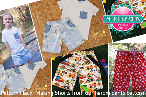Make shorts using our harem pants pattern