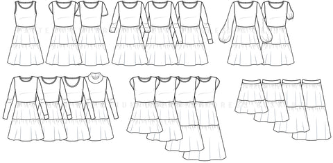 Dream On Tiered Dress Sewing Pattern Line Drawing