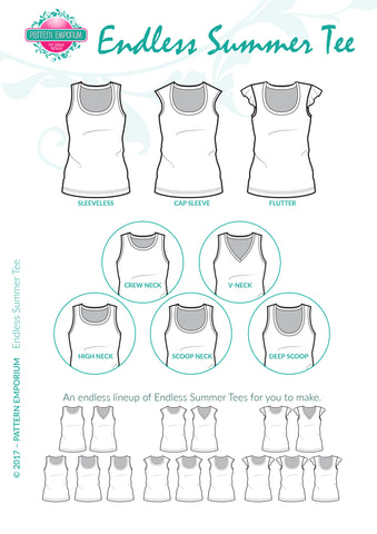 Line drawing sew a sleeveless or flutter t-shirt