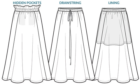 Free Spirit Skirt sewing pattern - pockets, drawstring, lining