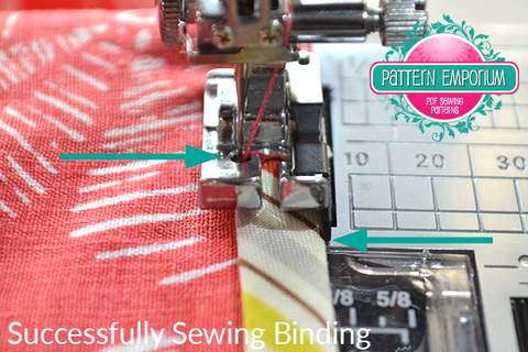 "How to sew on binding using a 1/4"" seam foot by Pattern Emporium sewing patterns"