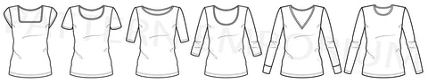 Squared neck v-neck round crew neck turtle neck tee sewing pattern