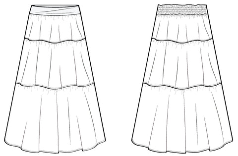 Tiered Maxi Skirt sewing pattern by Pattern Emporium