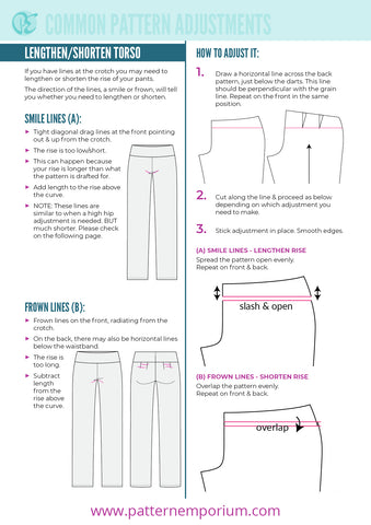 Fixing Crotch Smile & Frown Lines on Pants - Sewing Pattern Adjustments