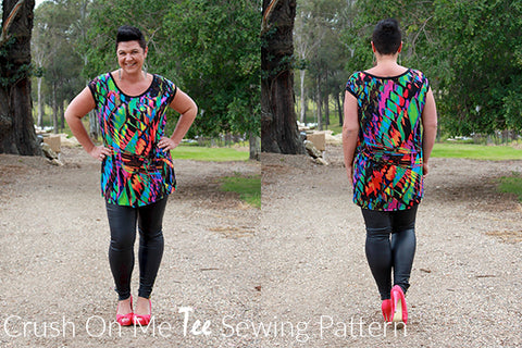 Pattern Emporium Crush On Me Tee sewing pattern. Evening glam styling.