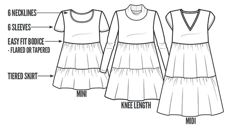Easy Fit Tiered Dress Sewing Pattern LINE DRAWING Pattern Emporium