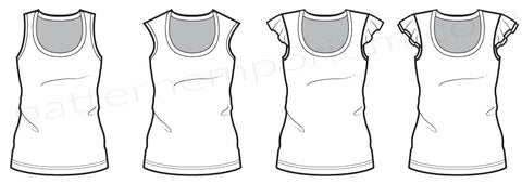 Ladies Summer Tee Tank Ruffles sewing pattern by Pattern Emporium