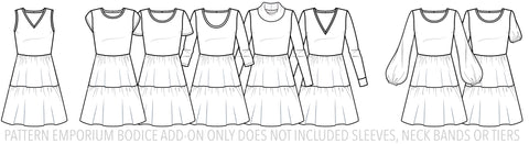 Fitted Bodice Add-on for the Every Days A Weekend Easy Fit Dress sewing pattern