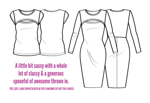Flawsome Cut Out Top & Dress sewing pattern by Pattern Emporium