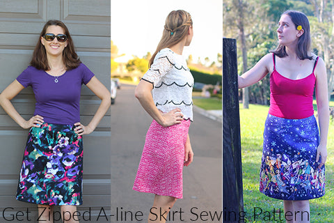 Pattern Emporium A-line Skirt sewing pattern. Styling your mini & maxi skirt.