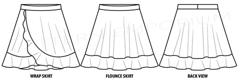 Girls Wrap & Flounce Skirt sewing pattern by Pattern Emporium