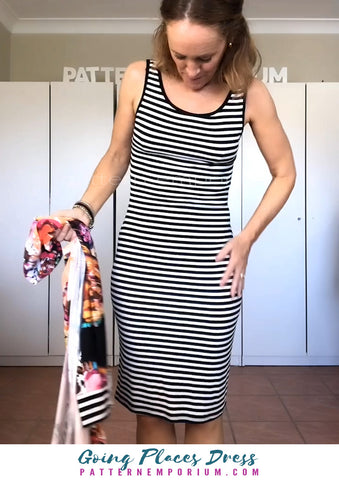 Going Places Dress - fitted in striped rib fabric