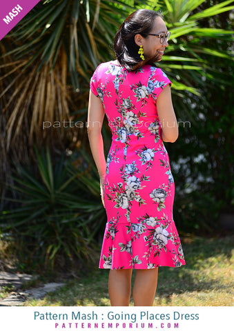 Sew a cap sleeve fitted dress with flounce Pattern Emporium