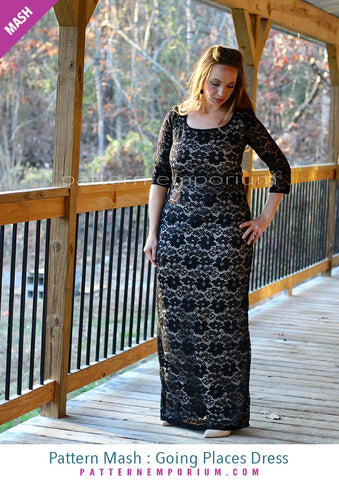 Sew a long sleeve fitted maxi dress by Pattern Emporium