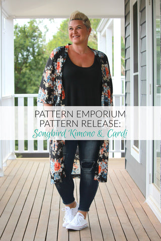 Songbird Kimono sewing pattern. Cardigan sewing pattern by Pattern Emporium
