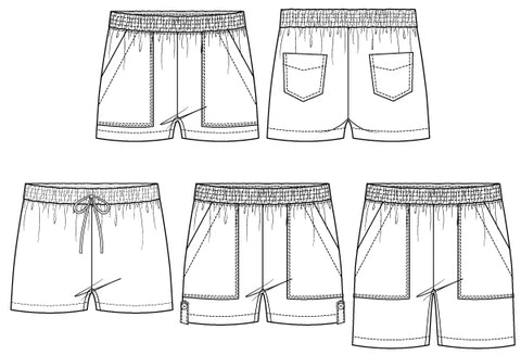 Getaway Pull-on Shorts with pockets sewing pattern by Pattern Emporium