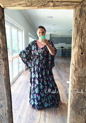 Melanie Hall wearing the Pattern Emporium SunKissed Kaftan in maxi length