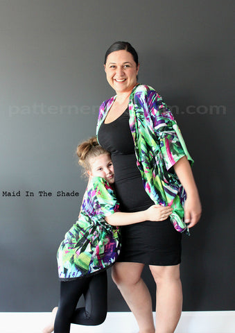 Melanie Hall wearing the Batwing Kimono by Pattern Emporium