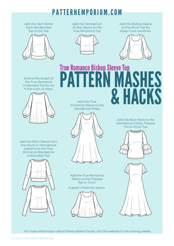 Bishop Sleeve Top sewing pattern by Pattern Emporium hacks and mashes