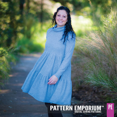 Tiered dress sewing pattern with roll neck by Pattern Emporium - Every Day's A Weekend