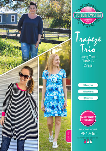 Trapeze swing top, tunic & dress sewing pattern by Pattern Emporium