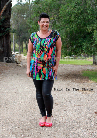 Melanie Hall wearing the Ladies Crush on Me Tee in Tunic Length by Pattern Emporium