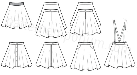 Womens Swing Skater Skirt sewing pattern LOADS OF OPTIONS