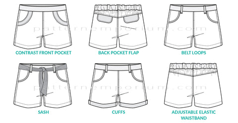 Girls Shorts Sewing Patterns cuffs, pockets, tabs