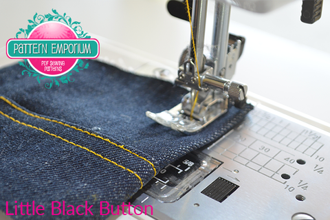 Sewing denim and thick fabrics using the pressure foot black button bumper Pattern Emporium