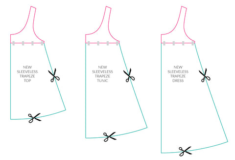 new ladies sleeveless trapeze top or dress sewing pattern