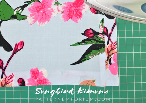 Ladies Songbird Kimono sewing pattern hack - extend the neck band