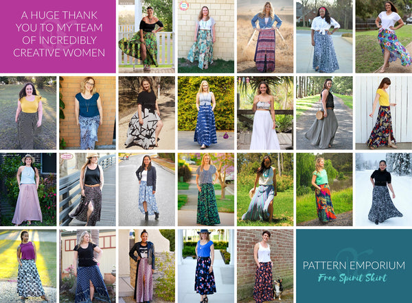 Pattern Emporium Free Spirit Gathered Skirt Sewing Pattern Team