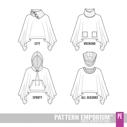 With Love Poncho Sewing Pattern Line Drawing