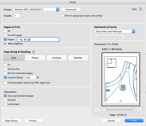 printer settings for printing pdfsewing patterns