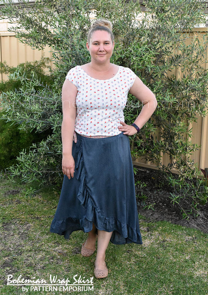 View our ladies wrap skirt sewing pattern with ruffle