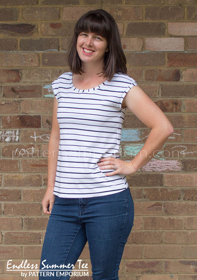 view our ladies capped sleeve tee sewing pattern