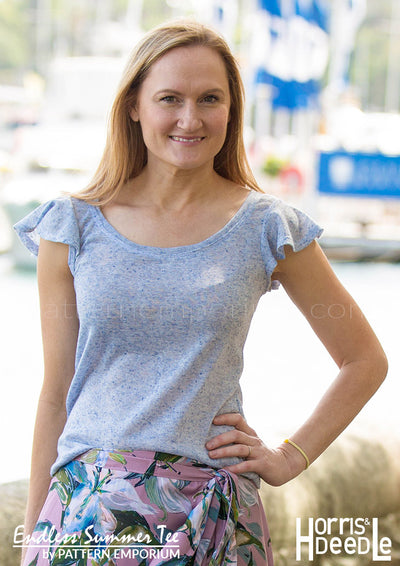 view our ladies ruffle sleeve tee sewing pattern
