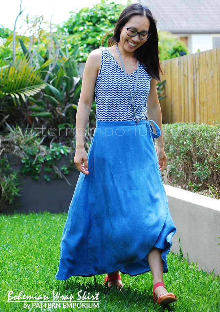 View our ladies wrap skirt sewing pattern