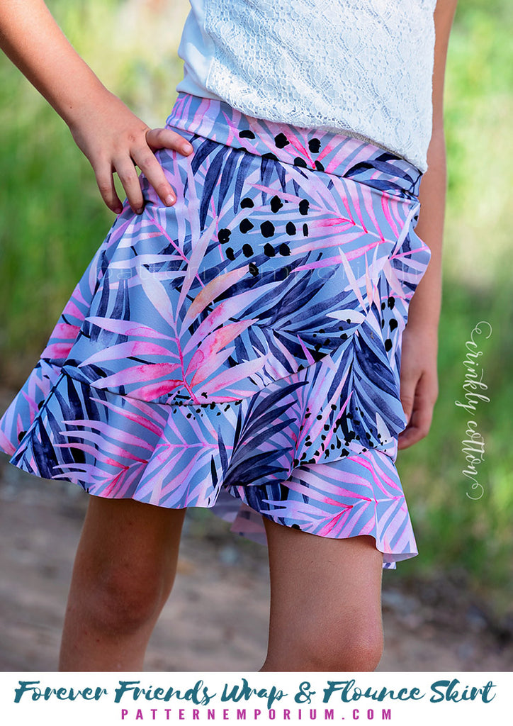 Forever Friends Girls Wrap & Flounce Skirt