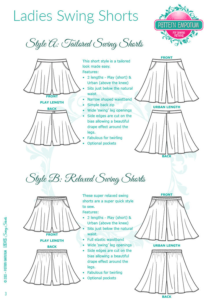 Ladies Swing Shorts PDF Sewing Pattern - Easy fit or tailored ...