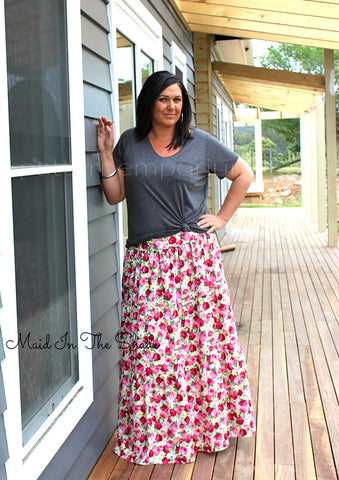 Melanie Hall wearing the Ladies Tiered Maxi Skirt by Pattern Emporium