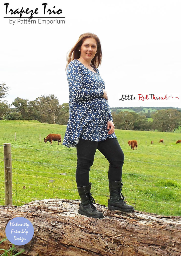 Maternity friendly ladies Trapeze top & dress sewing pattern