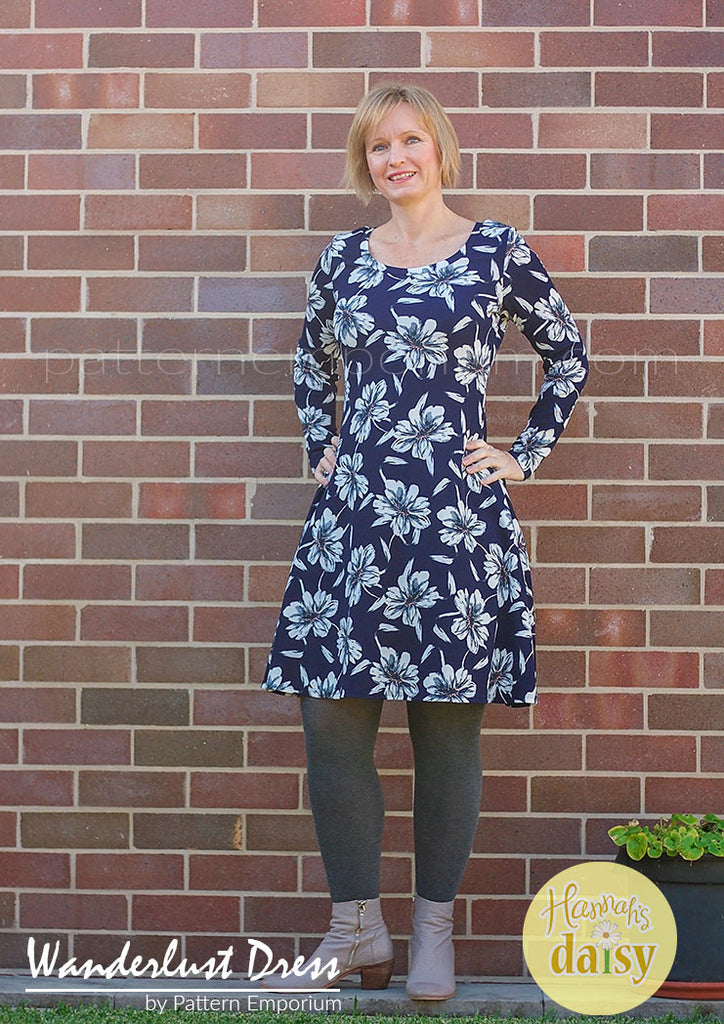 Ladies fit & flare dress with sleeves for stretch knit