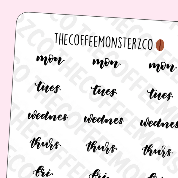 Helen's Lettering: Abbreviated Days Of The Week