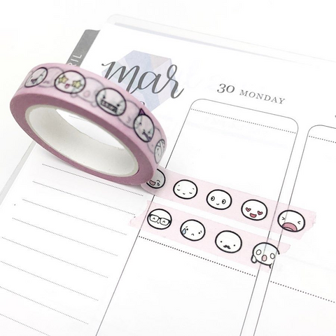 Pink Emoti Head Washi Tape